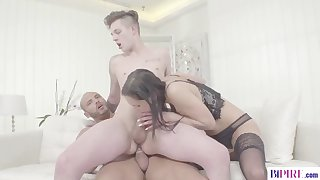 black haired goddess and two stallions in a bisexual scene