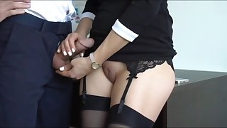 crazy secretary with tight pussy jerking off her boss cock