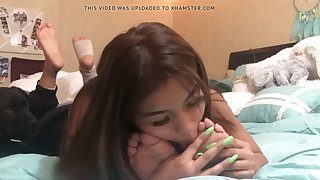 latin girl licking and sucking her mother's feet