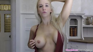 hot blonde dancing and teasing with her tits out