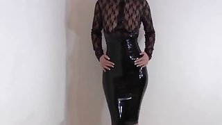 black latex dress heels and egs